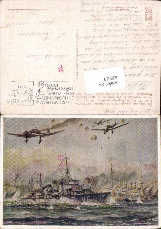 538519,Künstler AK Kriegsschiffe Flugzeuge Schiffe 1940 Statendam Jan van Galen