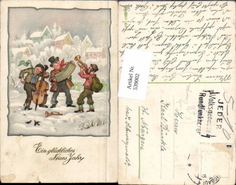 539002,tolle Künstler AK Fritz Baumgarten Neujahr Trompete Ziehharmonika