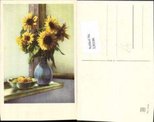 539186,Blume Blumen Sonnenblume Vase Stillleben Apfel Äpfel