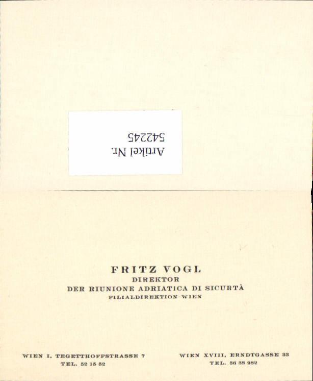 542245 Visitenkarte Wien Tegetthoffstrasse Fritz Vogl Währing 18