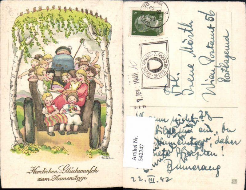 542247,Künstler AK Liesel Lauterborn Namenstag Kinder Wagen