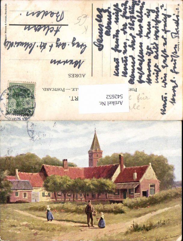 542652,Künstler AK G. Gerstenhauer Dorf Haus Leute