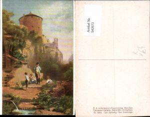 542673,Künstler AK Carl Spitzweg der Gestrenge pub Ackermann 3044