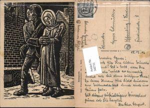 542711,Künstler AK L. Barth Holzschnitt Herbergsuche Bettler Obdachlose
