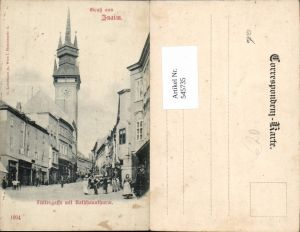 545735,tolle AK Gruß aus Znaim Znjomo Füttergasse Rathausturm