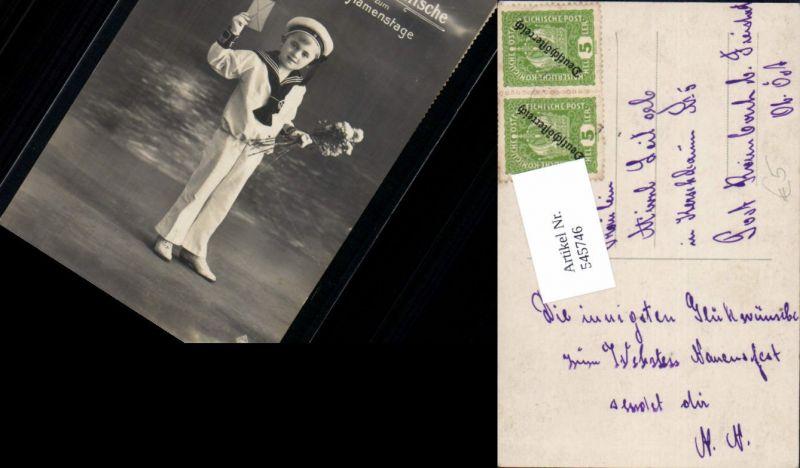 545746,Foto-AK Kind Kinder Junge Matrosenanzug matrose Brief Blumen seemann