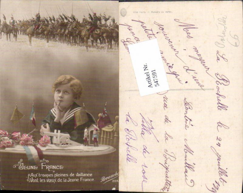 547591,Französische Armee Patriotik Kavallerie Soldaten Kind Uniform