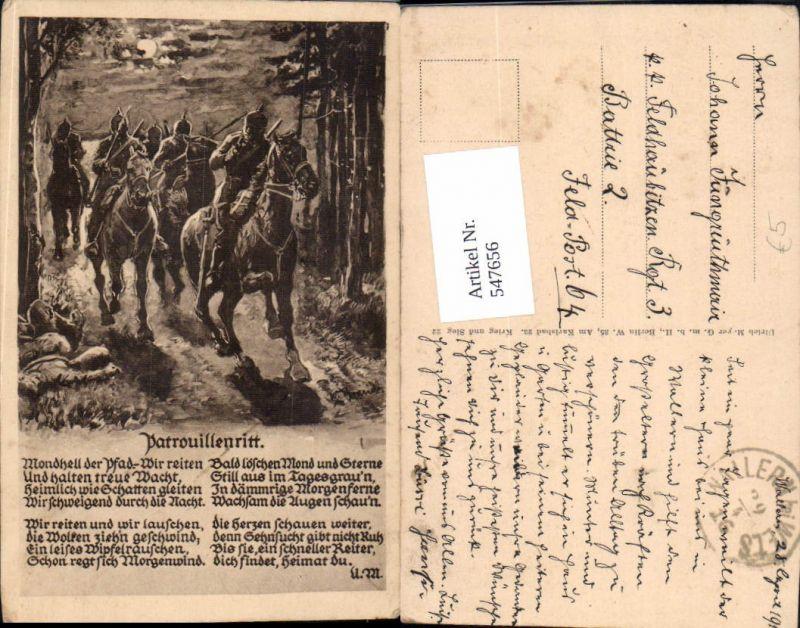 Deutsche Armee Patrouillenritt Kavallerie Pickelhaube Soldaten Wallern Wels Stp.