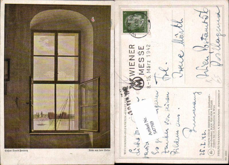 547769,Künstler AK Caspar David Friedrich Blick aus dem Atelier pub Wiechmann 2055