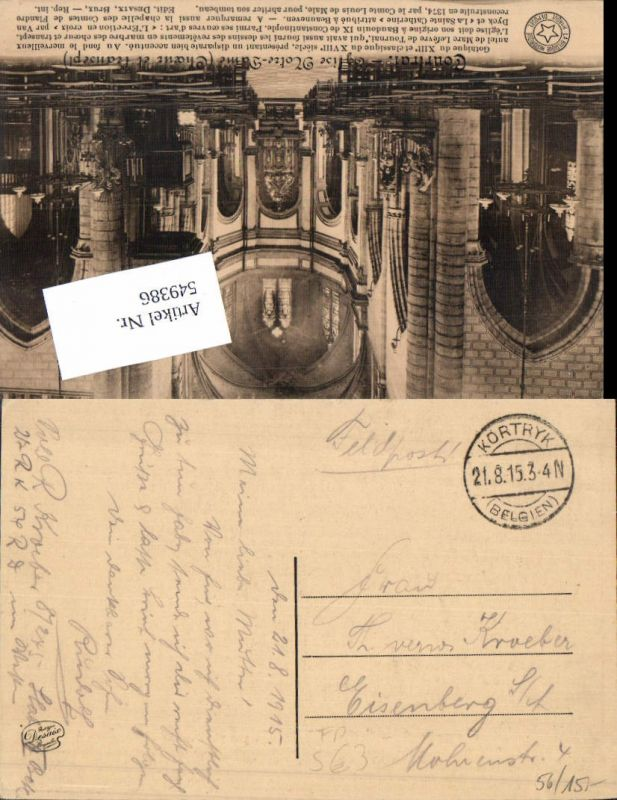 549386,Deutsche Feldpost Kortryk Belgien n. Eisenberg