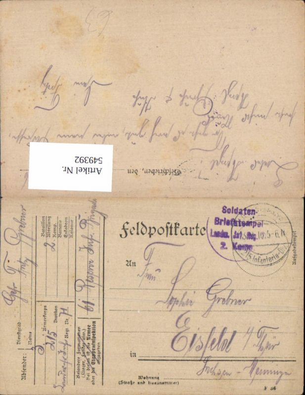 Deutsche Feldpost Soldaten Biefstempel Landwehr Inf. Reg. Eisfeld