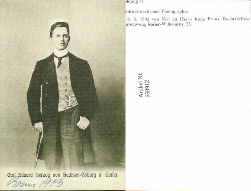 550912,REPRO Card Eduard Herzog v. Sachsen Coburg Gotha