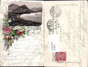 552043,tolle Lithographie Souvenir de Lugano pub Carl Künzli Zürich 485 Kt. Tessin