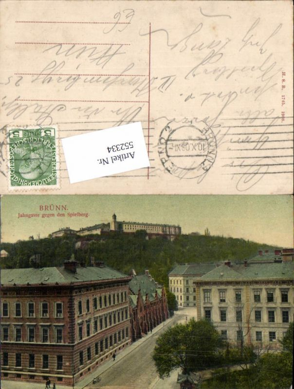 552334,Brünn Brno Jahngasse gegen Spielberg