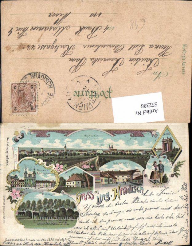 552388,tolle Lithographie Ungarisch Hradisch Uherske Hradiste Schwidernoch 3701