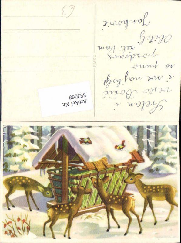 553068,Tiere Rehe Reh Grippe Futtergrippe Weihnachten Vögel