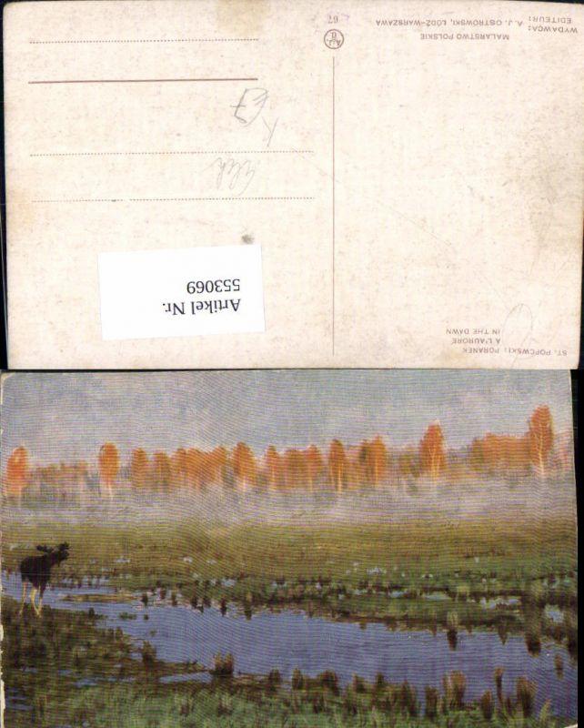 553069,Künstler AK st. Popcwski Tiere Hirsch Fluss Elch