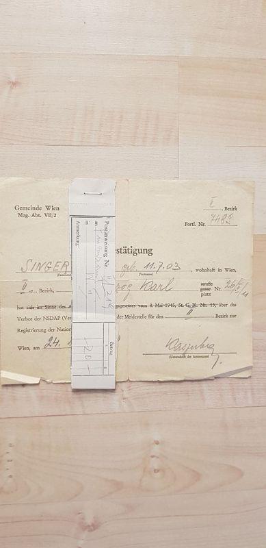 554006,Postanweisung Meldestelle WW2 Wien Leopoldstadt NSDAP Verbotsgesetz