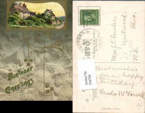 554739,Künstler AK Geburtstag Präge Litho Jugendstil Art Nouveau