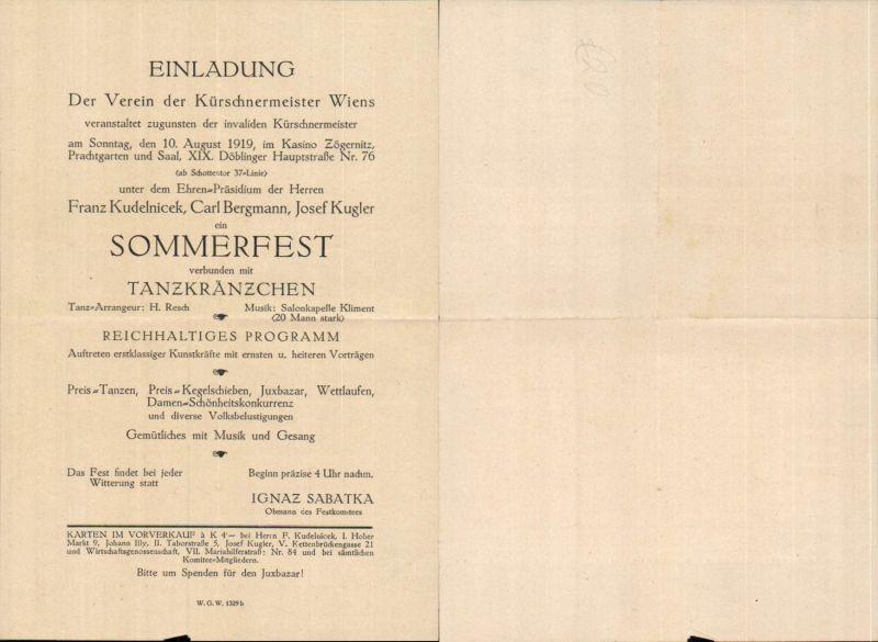 557173,Beleg Einladung Verein der Kürschnermeister Wien Döbling Kasino Zögernitz 1919 Sommerfest Tanzkränzchen