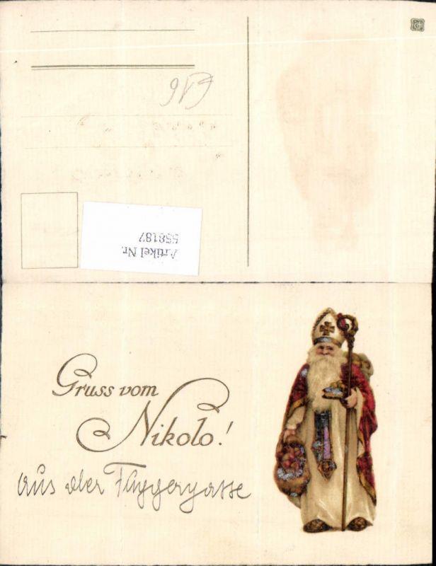 558187,tolle Lithographie Gruß vom Nikolo Nikolaus Krampus