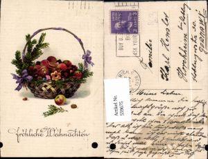 559675,Weihnachten Korb m. Tannenzweig Lebkuchen Kekse Äpfel