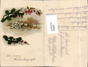 559685,Weihnachten Haus Winterlandschaft Tannenzweig Beeren