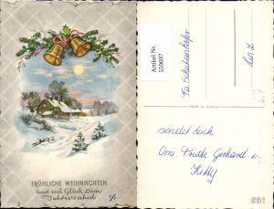 559697,Künstler Ak Weihnachten Haus Winterlandschaft Glocken Tannenzweig Schleife