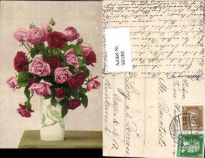 560288,Künstler Ak Vase Rose Rosen Rote Rosen Blumen