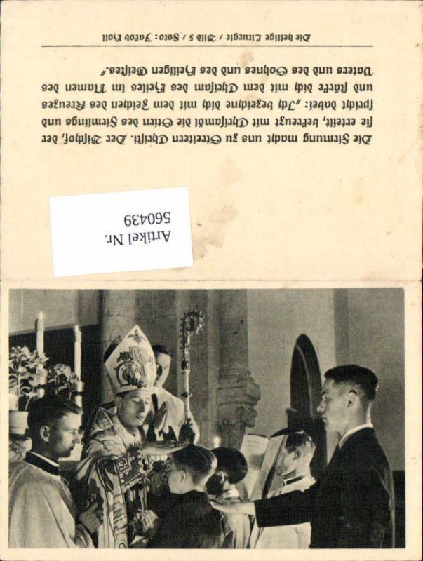 560439,Heiligenbildchen Andachtsbild Bischof Firmung Bub Junge m. Paten Die heilige Liturgie