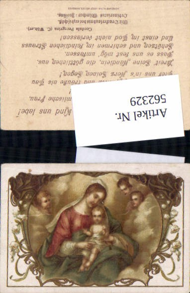 562329,Heiligenbildchen Andachtsbild Litho Jesus Maria Cordula Peregrina