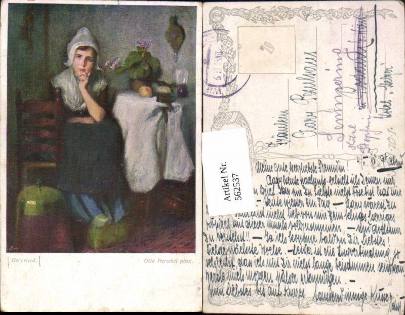 562537.Künstler AK Otto Herschel Mädchen Stuhl Sessel Obst pub B.K.W.I.