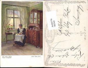 562543,Künstler AK Karl Zewy Ein stilles Heim Frau liest lesen Buch pub B.K.W.I.  1590