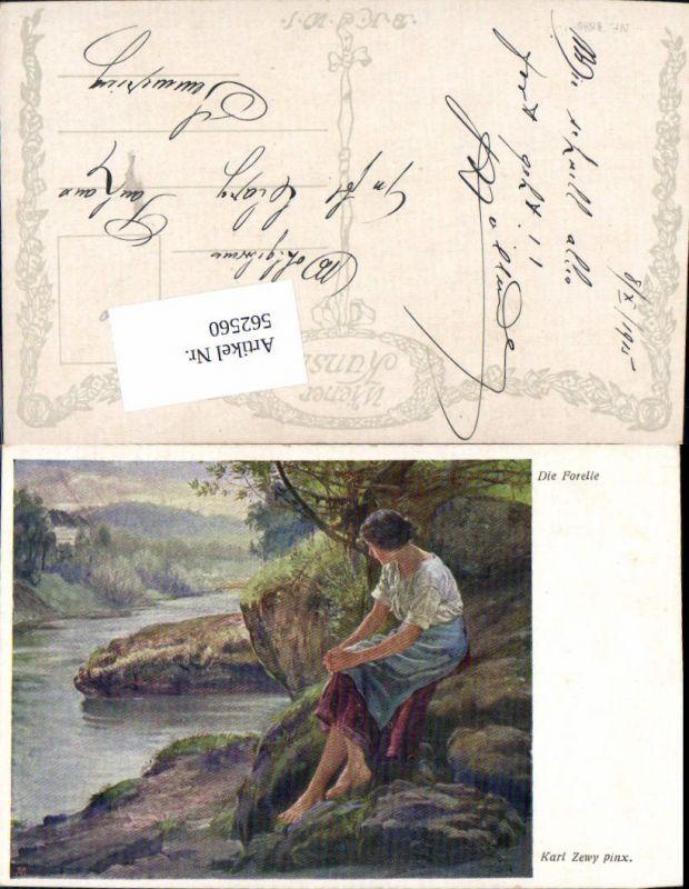 562560,Künstler AK Karl Zewy Die Forelle Frau Ufer pub B.K.W.I. 1589