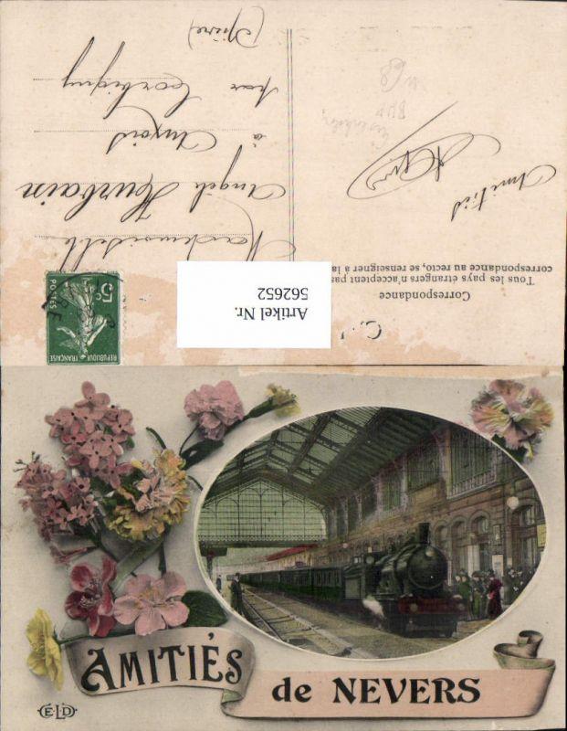 562652,Eisenbahn Lokomotive Zug Amities de Nevers Dampflok Bahnhof Blumen