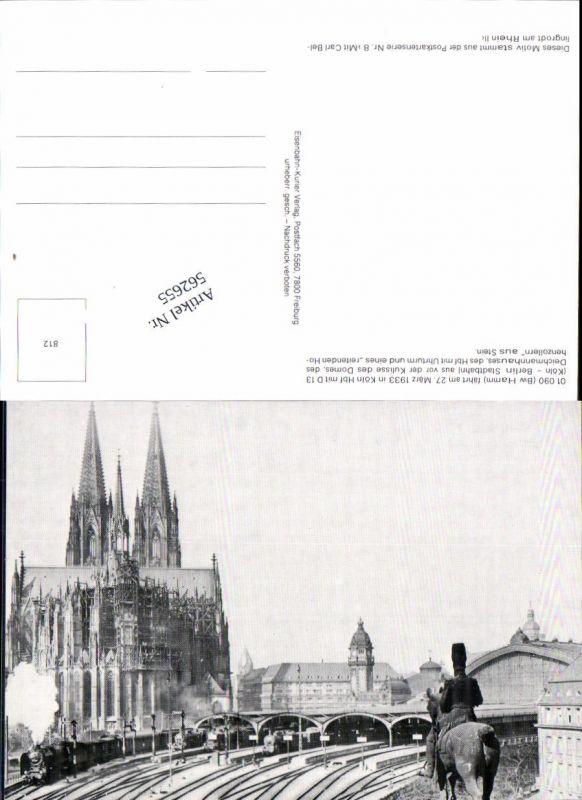 562655,Eisenbahn Lokomotive Zug Köln Hauptbahnhof Dampflok v. Dom Uhrturm reitenden Hohenzollern