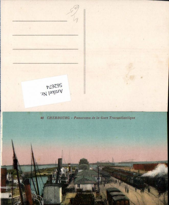 562674,Eisenbahn Lokomotive Zug Cherbourg Panorama de la Gare Transatlantique Hafen Dampflok