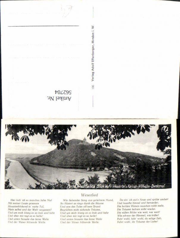 562704,Liedkarte Weserlied Porta Westfalica Blick aufs Wesertal u. Kaiser-Wilhelm-Denkmal
