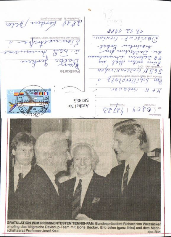 562855,Bundespräsident Richard Weizsäcker m. Boris Becker Eric Jelen Politiker Politik Sport Tennis