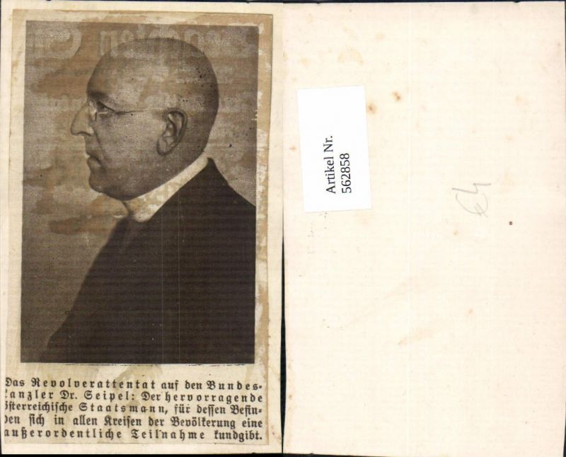 562858,Portrait Bundeskanzler Dr. Ignaz Seipel Politiker Politik