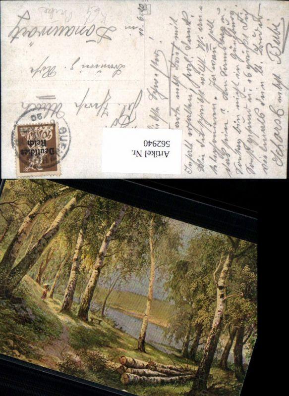 562940,Künstler Ak Birken Birke Wald Frau Bäume Baum
