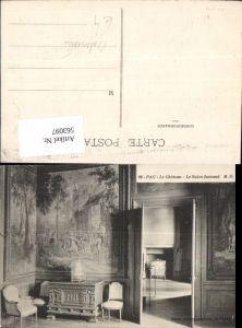 563097,Pau Le Chateau Le Salon flamand Sessel Wandtapette Kamin Interieur Einrichtung