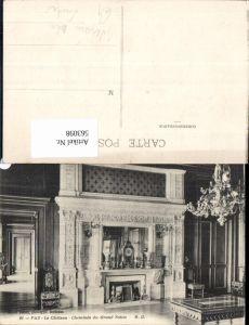 563098,Pau Le Chateau Cheminee du Grand Salon Kamin Ofen Heizung Uhr Luster Einrichtung