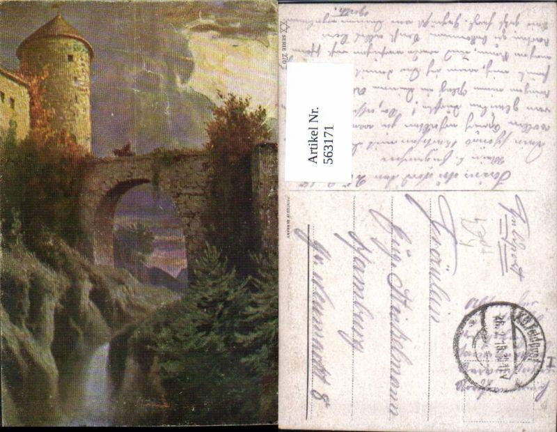 563171,Künstler Ak Burg Reiter a. Brücke Wasserfall FP K.D. Feldpost