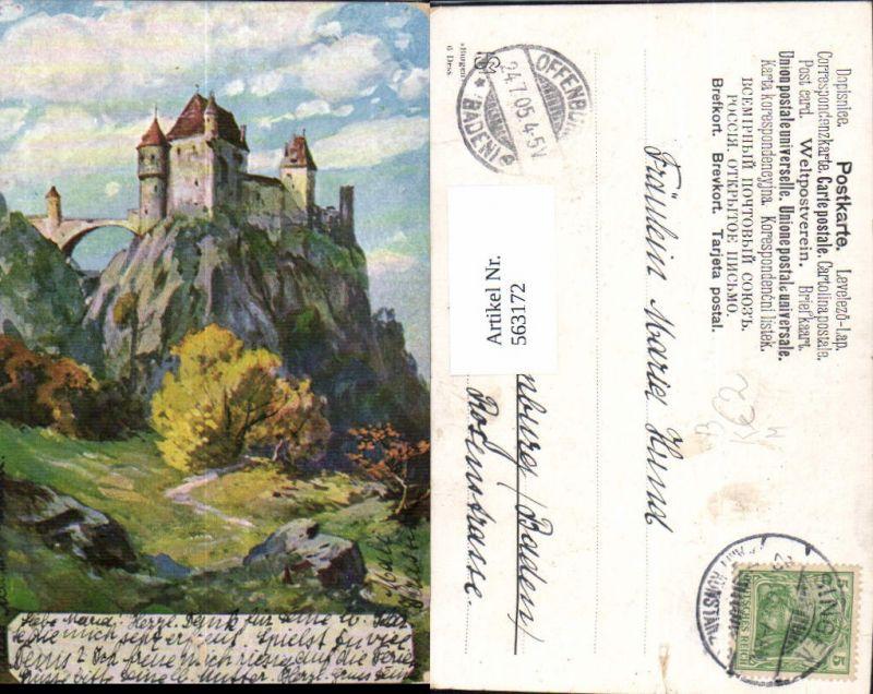 563172,Künstler Ak Schloss Burg Brücke