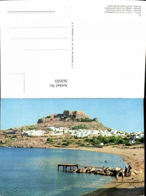 563593,Rhodos Dorf Linde u. Akropolis Greece