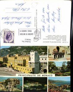 563611,Mehrbild Ak Principaute de Monaco Le Palais Le Port la nuit le Rocher
