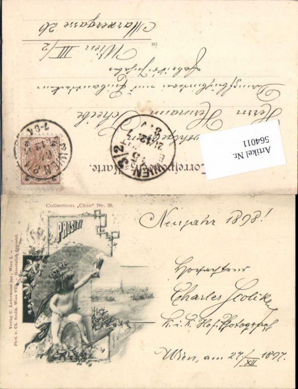 564011,tolle Künstler AK Jugendstil Scolik Collection Chic 38 Prosit Neujahr