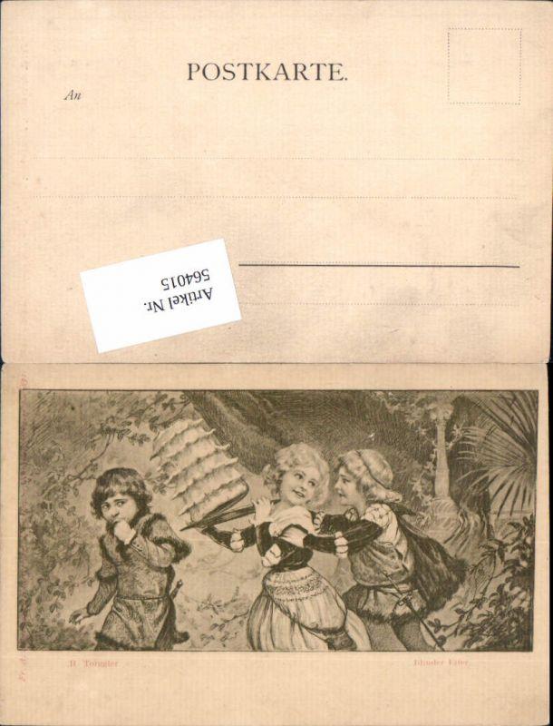 564015,tolle Künstler AK Jugendstil H. Torggler Kinder Torte Geburtstag Blinder Eifer