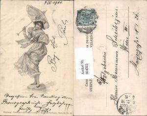 564022,tolle Künstler AK Jugendstil Frau Schirm Mode pub Stroefer 66-14